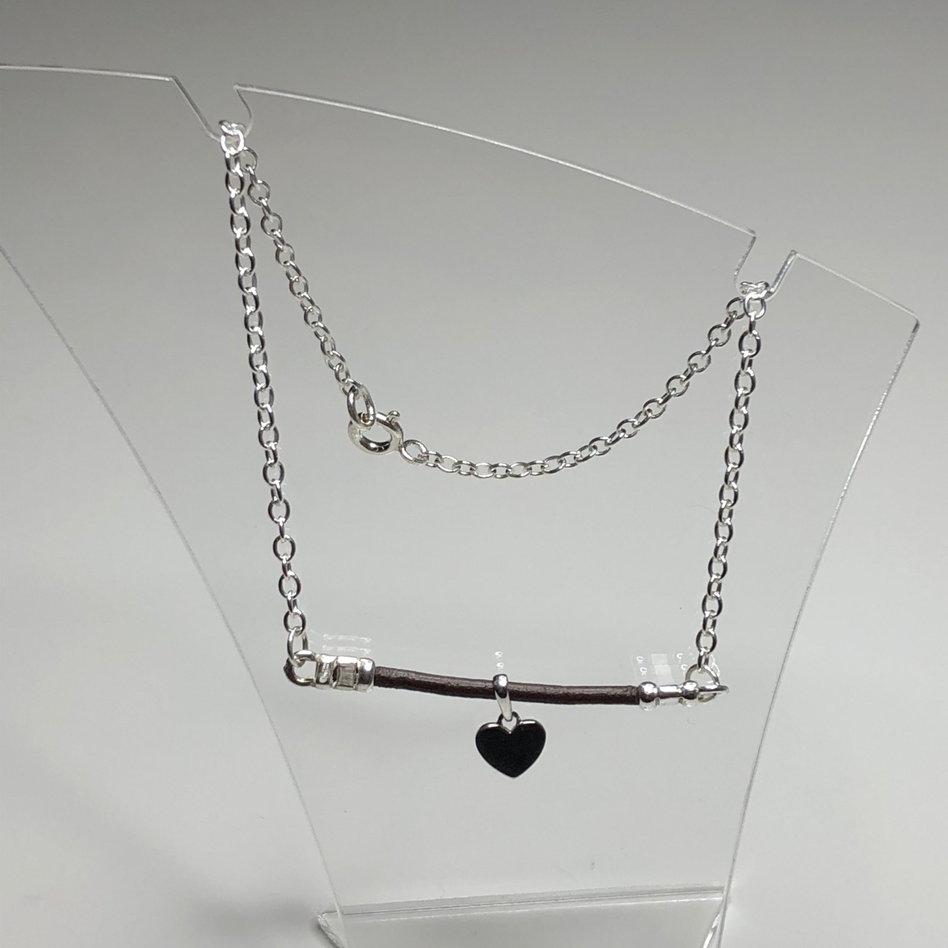 Silver And Leather Ankle Bracelet At Silver Tales Jewellery