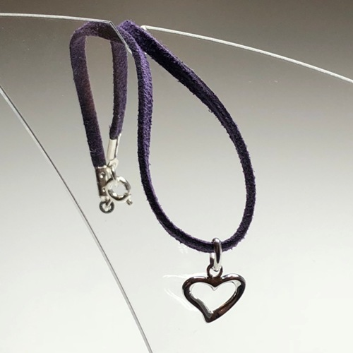 Suede Cord Ankle Bracelet with Heart | SilverTales | Hand Crafted Jewellery