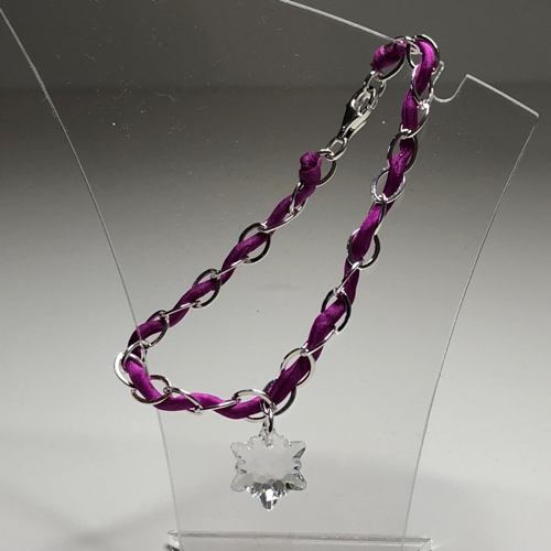 Silver & Silk Cord Bracelet with Swarovski Charm | SilverTales | Hand Crafted Jewellery