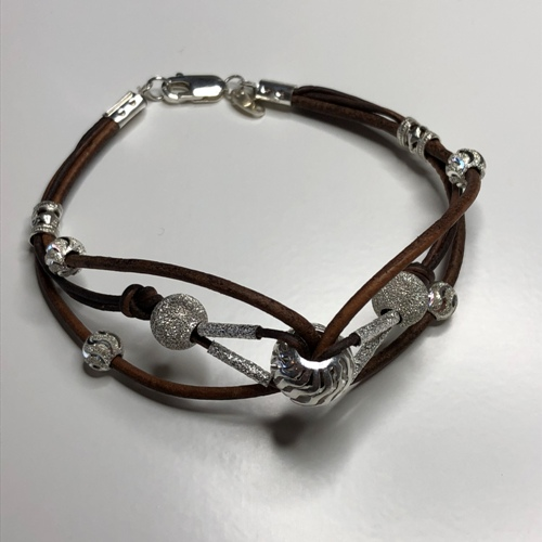 Leather Cord & Silver Bead Bracelet | SilverTales | Hand Crafted Jewellery