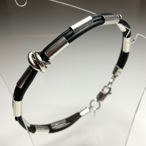 Mens Leather Cord and Silver Tube Bracelet | SilverTales | Hand Crafted Jewellery