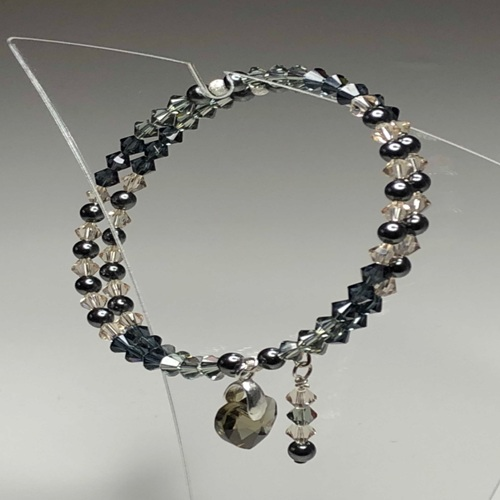 Black Diamond Swarovski Coil Bracelet | SilverTales | Hand Crafted Jewellery