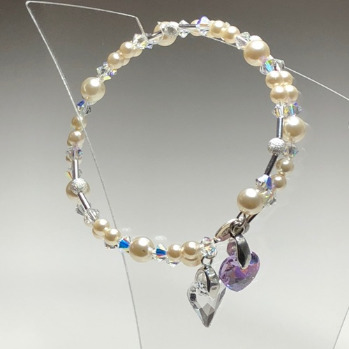 Cream Double Heart Swarovski Coil Bracelet | SilverTales | Hand Crafted Jewellery