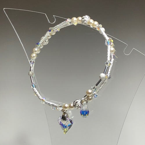 Cream Heart & Drop Swarovski Coil Bracelet | SilverTales | Hand Crafted Jewellery