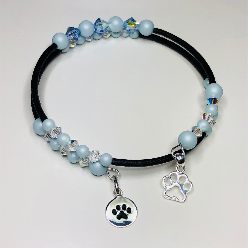 Paw Prints Blue Bracelet | SilverTales | Hand Crafted Jewellery