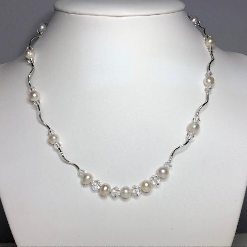 Freshwater Pearl Swarovski Crystal Necklace Sheri At Silver