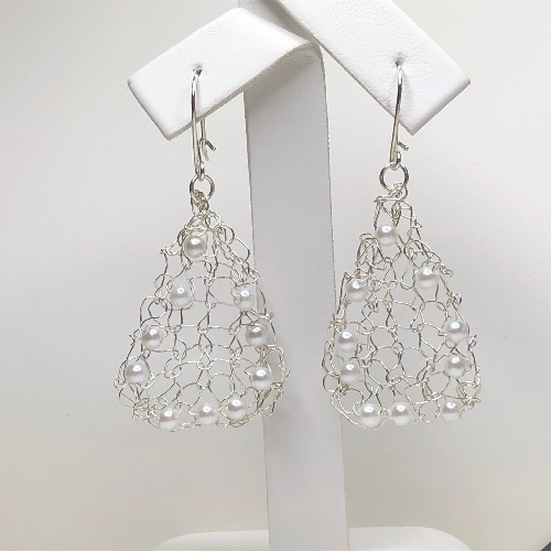Silver Knitted Bead Earrings | SilverTales | Hand Crafted Jewellery