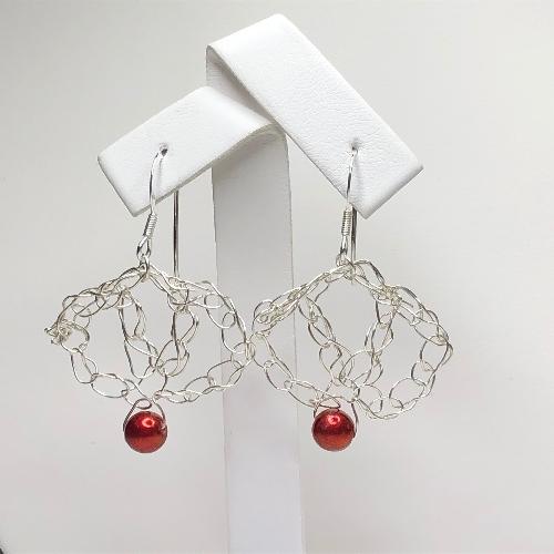 Silver Crochet Bead Earrings | SilverTales | Hand Crafted Jewellery