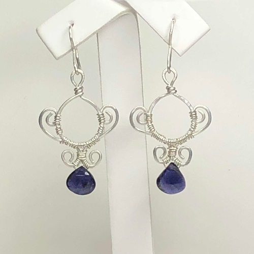 Iolite Briolette Silver Earrings - One of a kind | SilverTales | Hand Crafted Jewellery