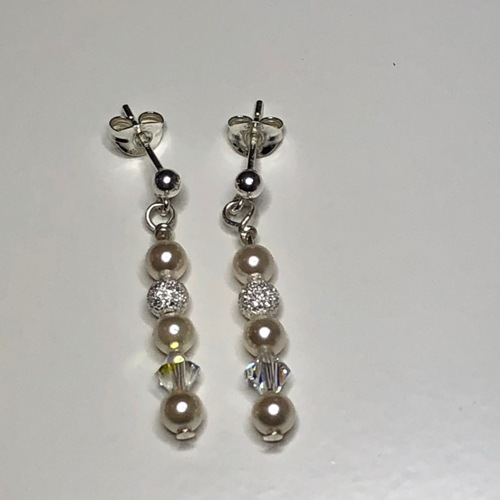 Crystals & Pearls Stud Earrings | SilverTales | Hand Crafted Jewellery