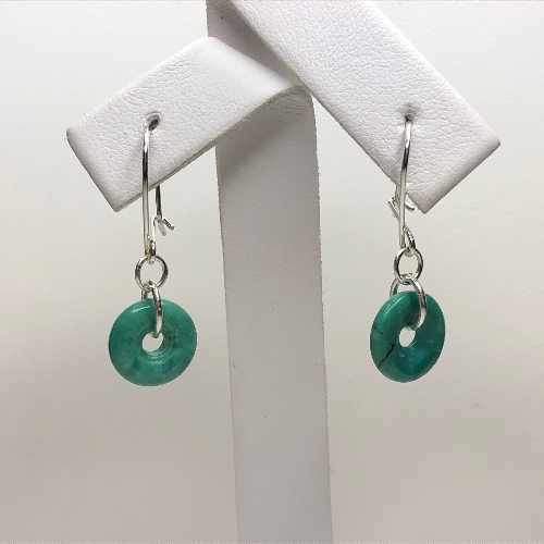 Chinese Turquoise Donut Earrings | SilverTales | Hand Crafted Jewellery