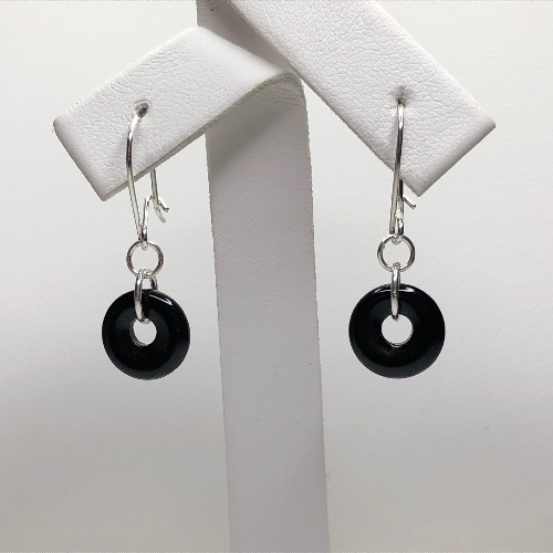 Black Onyx Donut Earrings | SilverTales | Hand Crafted Jewellery