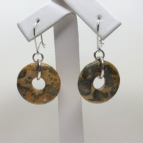 Leopardskin Rhyolite Donut Earrings | SilverTales | Hand Crafted Jewellery