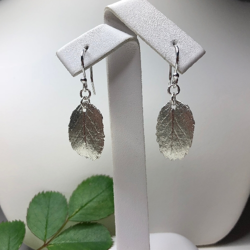 Rose Leaf Earrings in Fine Silver | SilverTales | Hand Crafted Jewellery