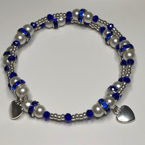 Royal Blue & White Coil Bracelet | SilverTales | Hand Crafted Jewellery