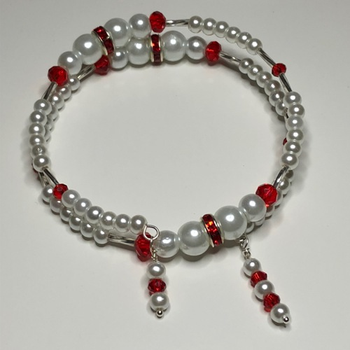 White with hint of Red Coil Bracelet  | SilverTales | Hand Crafted Jewellery