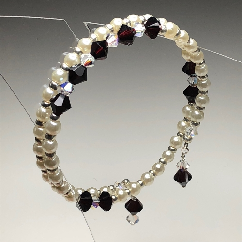 January Garnet Bracelet with Swarovski Crystals | SilverTales | Hand Crafted Jewellery