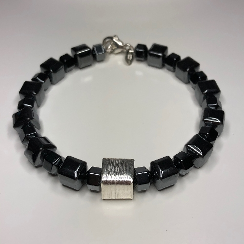 Cube Bracelet - Hematite  | SilverTales | Hand Crafted Jewellery