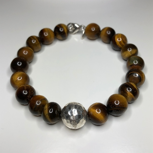Round Hammered Charm Bracelet - Tiger Eye  | SilverTales | Hand Crafted Jewellery