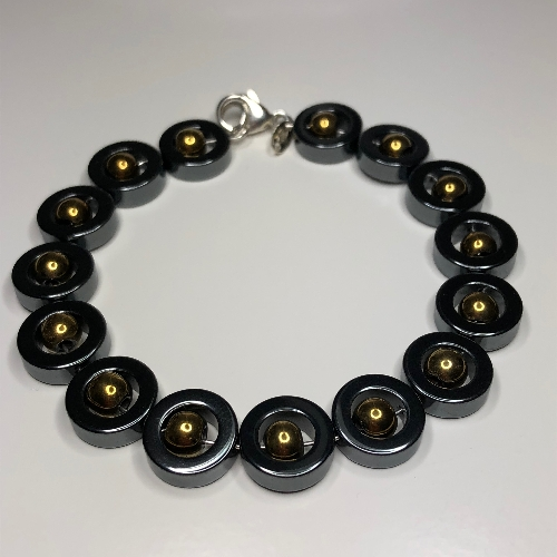 Hematite Rings with Gold and Sterling Silver Bracelet | SilverTales | Hand Crafted Jewellery