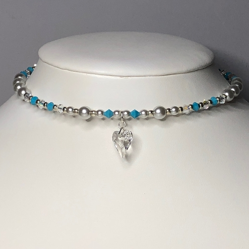 Swarovski Crystals and Pearls Choker - more colours | SilverTales | Hand Crafted Jewellery