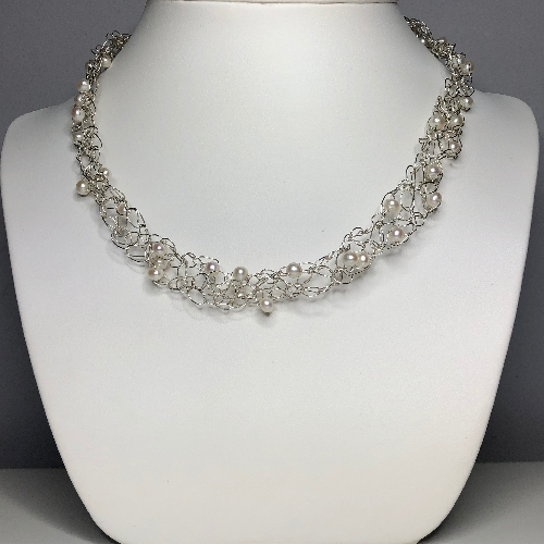 Silver Crochet Pearl Choker - One of a Kind | SilverTales | Hand Crafted Jewellery