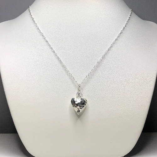 Large Puff Heart Karen Silver Pendant  | SilverTales | Hand Crafted Jewellery