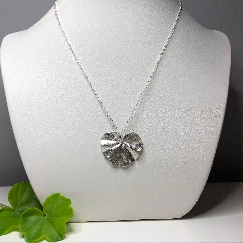 Real Geranium Leaf Pendant in Fine Silver with Chain | SilverTales | Hand Crafted Jewellery