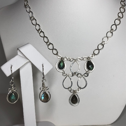 Labradorite Necklace and Earrings Set - One of a kind | SilverTales | Hand Crafted Jewellery